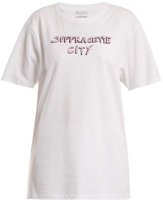 Bella Freud X Gillian Wearing Suffragette City T Shirt - Womens - White Multi
