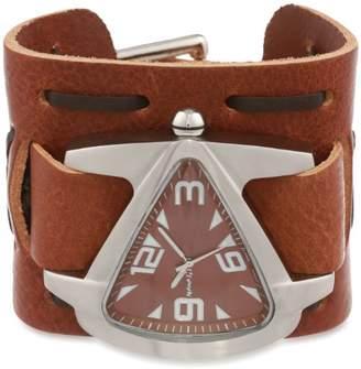 Nemesis Men's TBWXB011B Signature Stainless Steel Teardrop Dial Leather Cuff Watch