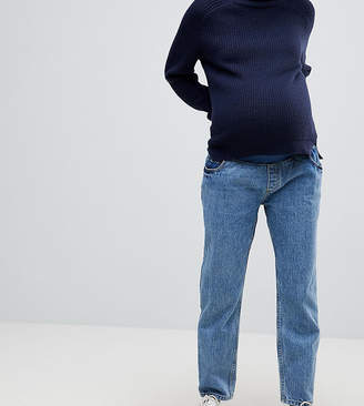 Asos RECYCLED FLORENCE Authentic Straight Leg Jeans in Mindy Vintage Blue Wash with Under the Bump Waistband