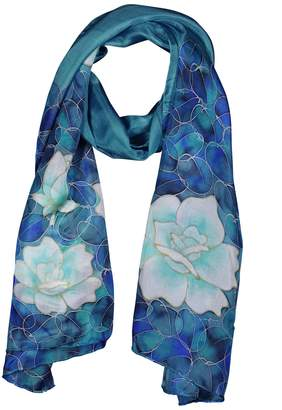 Mulberry Invisible World Women's 100% Silk Scarf Long Hand Painted Floral-Blue