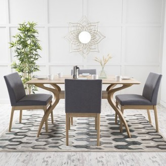 Mid-Century MODERN Noble House Caruso Wood 5 Piece Dining Set, Natural Oak, Dark Grey