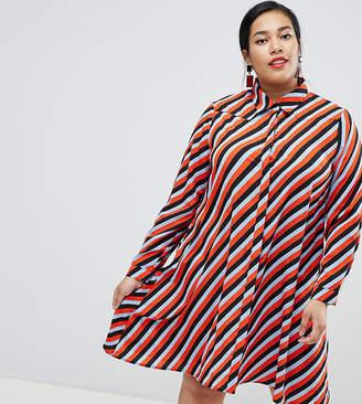 Glamorous Curve shirt dress in stripe