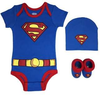DC Superman Short Sleeve Bodysuit, Booties & Cap, 3-piece Layette Gift Set (Newborn Baby Boys)