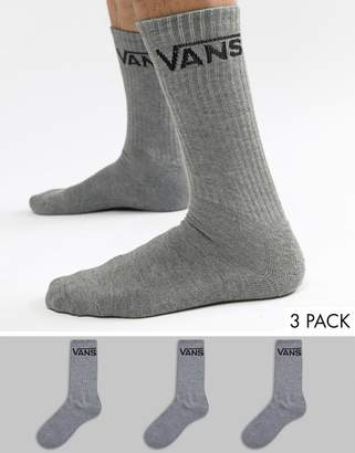 Vans Classic 3 Pack Socks In Gray VXSEHTG
