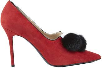 Aperlaï Red Suede Heels