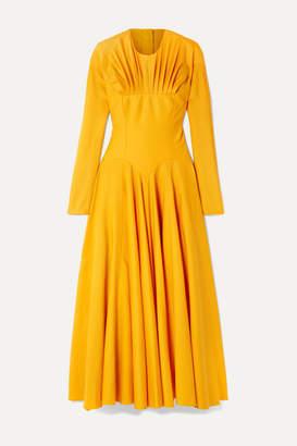 Emilia Wickstead Nasiba Open-back Gathered Wool-gabardine Midi Dress - Marigold