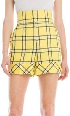 Sara Battaglia High-Waist Check Shorts