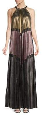 BCBGMAXAZRIA Alyson Pleated Metallic Maxi Dress