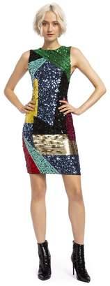 Alice + Olivia Nat Sequin Fitted Midi Dress