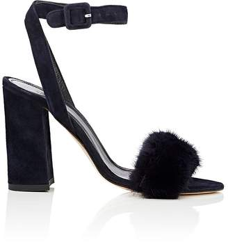 Barneys New York Women's Suede & Mink Ankle-Strap Sandals