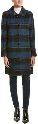 Sofia Cashmere Sofiacashmere Plaid Leather-Trim Wool & Alpaca-Blend Coat