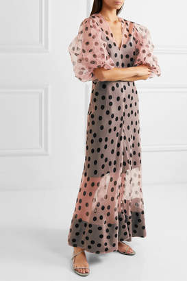 Lee Mathews - Rayne Polka-dot Organza Maxi Dress - Pastel pink