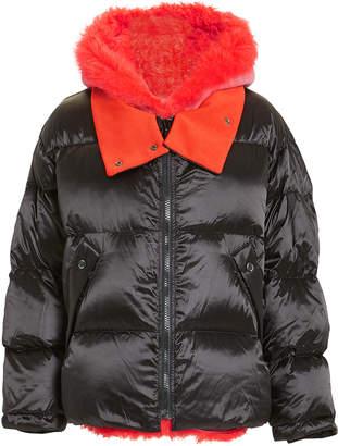 Yves Salomon Orange Shearling Trim Puffer Jacket