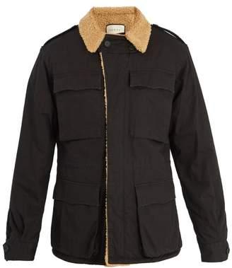 Gucci Logo Print Faux Shearling Jacket - Mens - Black