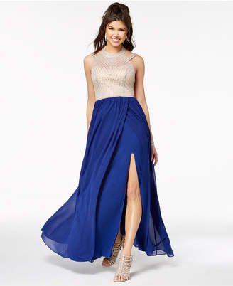 Say Yes to the Prom Juniors' Embellished Contrast Slit-Skirt Gown, Created for Macy's