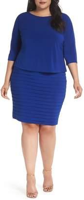 Adrianna Papell Shutter Pleat Popover Sheath Dress