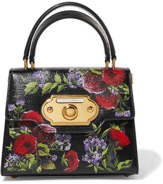 Dolce & Gabbana Welcome Small Floral-print Lizard-effect Leather Tote - Black
