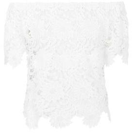 Parisian White Crochet Bardot Top