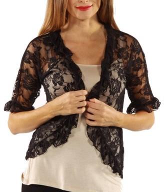 24/7 Comfort Apparel Women's Goddess Black Lace Bolero Cardigan Shrug
