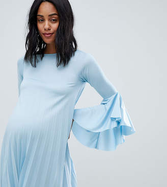 Asos DESIGN maternity pleated frill cuff shift