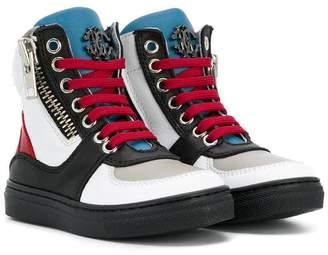 Roberto Cavalli colour block hi-top sneakers