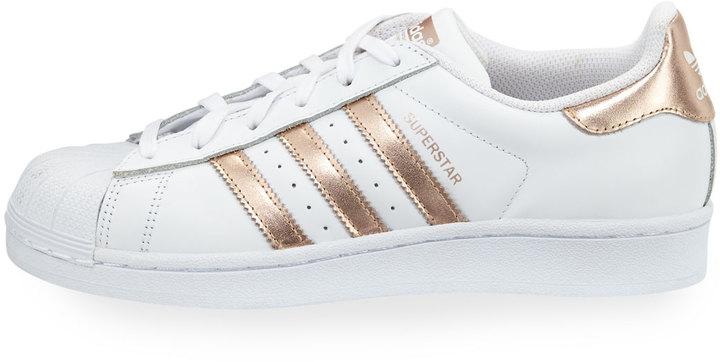 Adidas Superstar Original Fashion Sneaker, White/Rose Gold 5