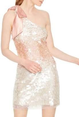 Parker Black Rowan Paillette Sequins One-Shoulder Mini Shift Dress w/ Bow