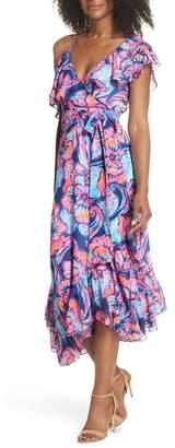 Lilly Pulitzer R) Marianna Asymmetric Midi Wrap Dress