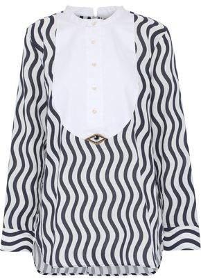 Figue Evil Eye Piqué-Paneled Printed Cotton-Gauze Shirt