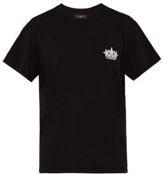 Amiri Logi And Star Print Cotton T Shirt - Mens - Black White