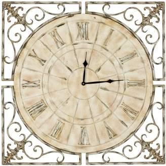 Safavieh Kathleen Fir Wood and Iron Clock, Distressed Antique White
