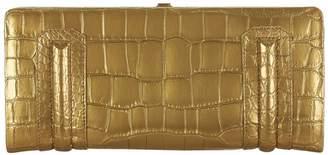 Stalvey Aliza Framed 24k Gold Porosus Crocodile Clutch Bag