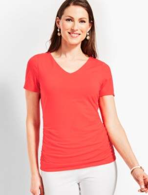 Talbots Fairleigh Ruched V-Neck Tee