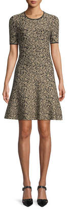 MICHAEL Michael Kors Metallic Jacquard A-Line Dress