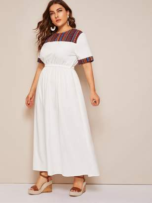 Shein Plus Contrast Jacquard Yoke & Cuff Elastic Waist Dress