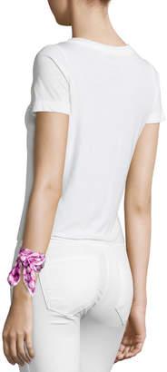 Anna Coroneo Pearls Twill Square Mini Scarf, Pink