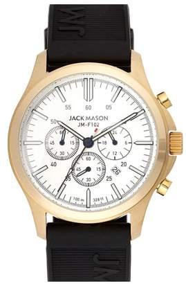 Jack Mason Field Chronograph Rubber Strap Watch, 42mm