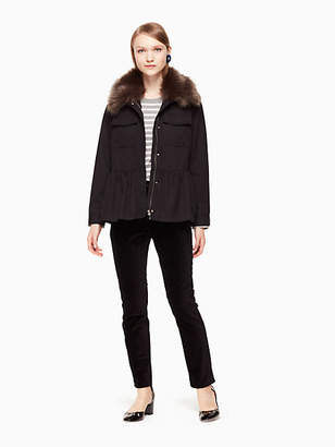 Kate Spade Faux fur trim military jacket