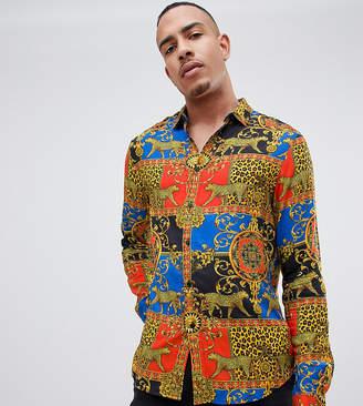 Asos DESIGN Tall regular fit baroque & leopard printed viscose shirt