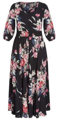 City Chic Misty Love Floral Button-Up Dress