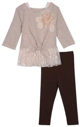 Pippa & Julie Tie Front Knit Sweater & Leggings 2-Piece Set (Baby Girls)