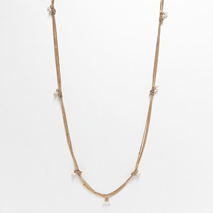 Lauren Conrad gold tone simulated pearl cluster & knot long station necklace
