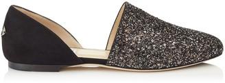 Jimmy Choo GLOBE FLAT Black Suede Flats with Bronze Mix Midnight Coarse Glitter Fabric