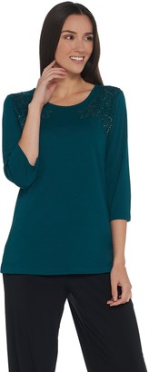 Factory Quacker 3/4-Sleeve Lace Front Knit T-Shirt w/ Rhinestones