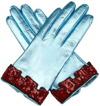 Gucci Sequinned-cuff leather gloves