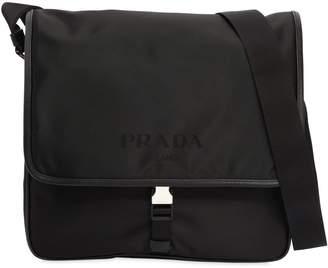 Prada Nylon Messenger Bag W/ Leather Trim