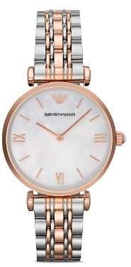 Emporio Armani Three Hand Stainless Steel Watch, 43 mm