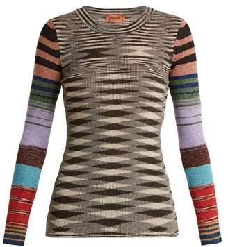 Missoni Contrast-sleeve geometric-pattern sweater
