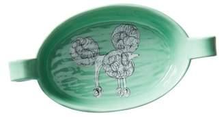 Anthropologie Painted Pup Stoneware Gratin Dish