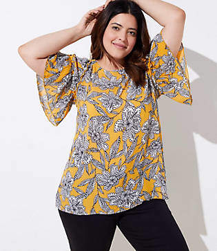 LOFT Plus Abstract Floral Tiered Ruffle Sleeve Top